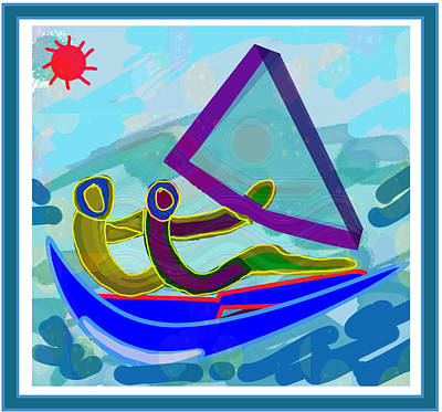 Mixed Media - Sail Boat Couple Graphic Ditigal Abstract Painting by Navin Joshi