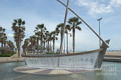Sail Boat Fountain In Valencia Art Print