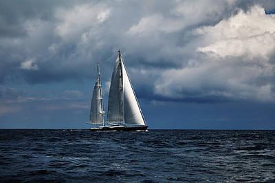 Sail Boat In Stormy Sea.  Art Print