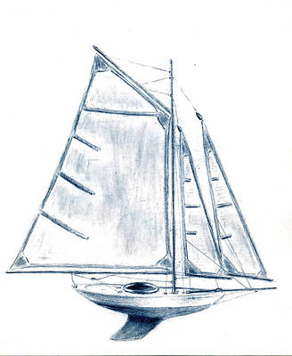 Model Drawing - Sail Boat by Michael Vigliotti