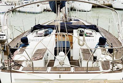Boat Photograph - Sail Boat Moored At The Porotmaso Marina In St. Julian, Malta by Dani Prints and Images