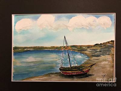 Painting - Sail Boat On Shore by Donald Paczynski