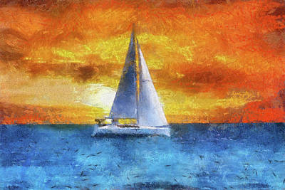 Mixed Media - Sail Boat Pa 02 by Thomas Woolworth