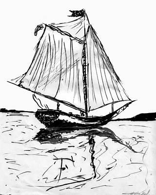 Mixed Media - Sail Boat by Steve Karol