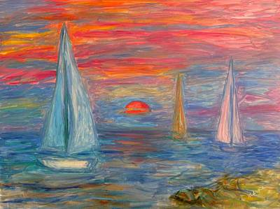 Painting - Sailboat Sunrise Stage One by Kendall Kessler