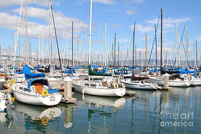 Sail Boats At San Francisco China Basin Pier 42 With The Bay Bridge In The Background . 7d7664 Print by Wingsdomain Art and Photography