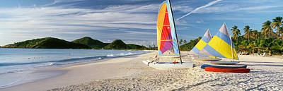 Antigua Photograph - Sail Boats On The Beach, Antigua by Panoramic Images