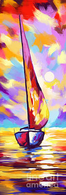 Painting - Sail Bout Sunset V by Tim Gilliland