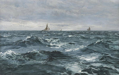 Water Vessels Painting - Sail On A Rough Sea by Henry Moore