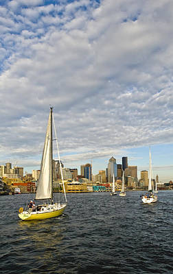 Sail On Seattle Art Print by Tom Dowd