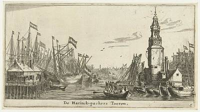 Drawing - Sail Ships Haringpakkerstoren  Reinier Nooms 1652 1654 by R Muirhead Art