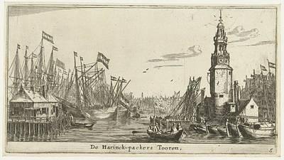 Drawing - Sail Ships Haringpakkerstoren  Reinier Nooms 1652 1654 by R Muirhead Art