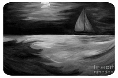 Painting - Sail To The Moon, An Endless Journey by Bonnie Cushman
