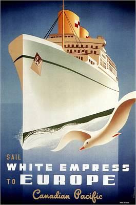Mixed Media - Sail White Empress To Europe - Canadian Pacific - Retro Travel Poster - Vintage Poster by Studio Grafiikka