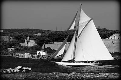 sailboat - a one mast classical vessel sailing in one of the most beautiful harbours Port Mahon Art Print