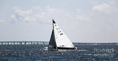 Photograph - Sailboat And Bridge by Mary Haber