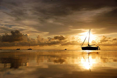 Photograph - Sailboat And Golden Sunset by Daniel Woodrum