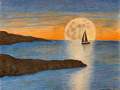 sailboat and Moon Art Print by Karrie Zenz