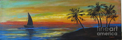 Painting - Sailboat And  Palms by Karen Day-Vath