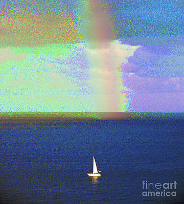 Photograph - Sailboat And Rainbow 1001 by Corinne Carroll