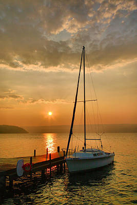 Sailboat And Sunrise Art Print by Steven Ainsworth