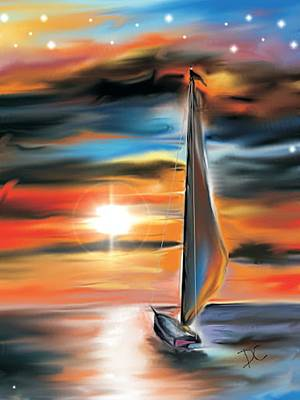 Sailboat And Sunset Art Print