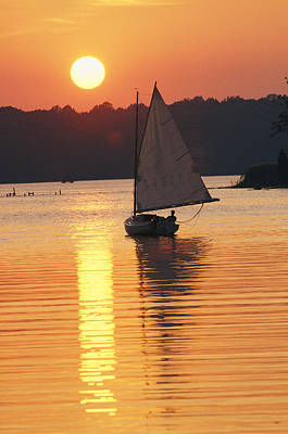 Natural Forces Photograph - Sailboat And Sunset, South River by Skip Brown
