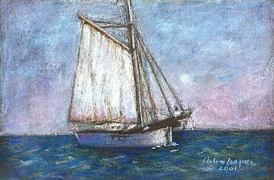 Pastels Pastel - Sailboat by Arline Wagner