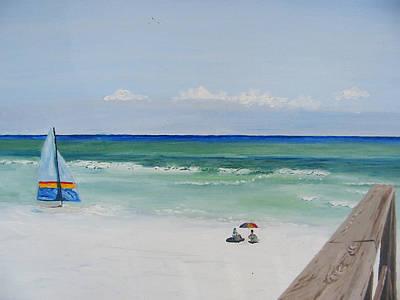 Sailboat At Blue Mountain Beach Art Print by John Terry