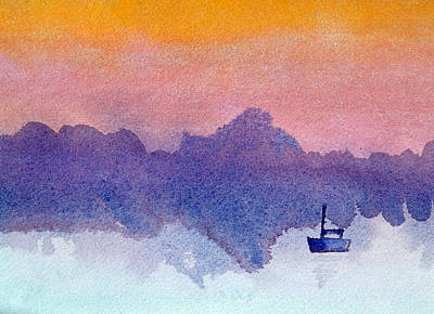 Painting - Sailboat At Dawn by Paul Thompson