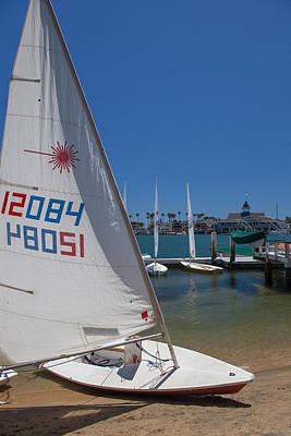 Photograph - Sailboat At Newport Beach Harbor by Cliff Wassmann