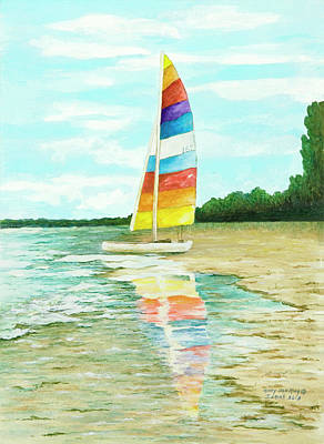 Painting - Sailboat Reflection by Mary Ann King