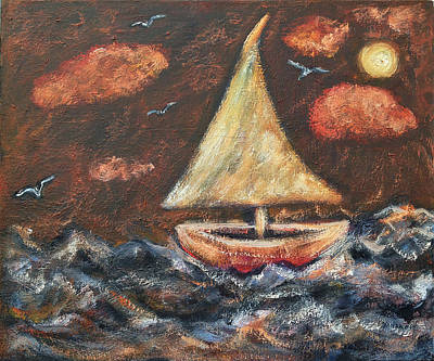 Painting - Sailboat At Sea by Katt Yanda