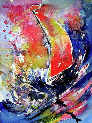 Painting - Sailboat At Storm by Kovacs Anna Brigitta