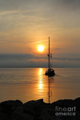 Photograph - Sailboat At Sunrise by Lara Morrison