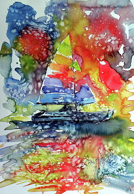 Painting - Sailboat At Sunset II by Kovacs Anna Brigitta