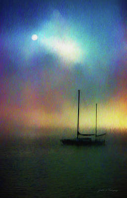 Mixed Media - Sailboat At Sunset by John A Rodriguez