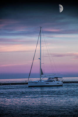 Photograph - Sailboat At Sunset Under A Summer Moon by Randall Nyhof