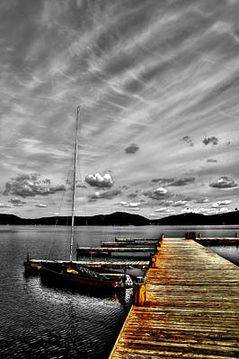 Sailboat At The Dock Art Print by David Patterson