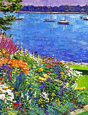 Painterly Painting - Sailboat Bay Garden by David Lloyd Glover