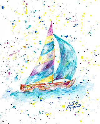 Sailboat By Jan Marvin Art Print