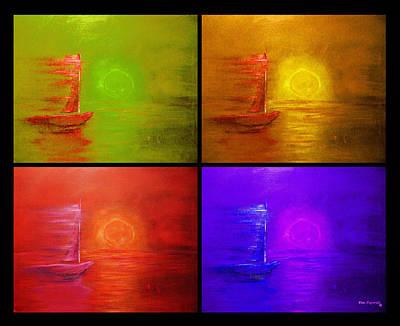 Abstract Beach Landscape Digital Art - Sailboat Collage by Ken Figurski