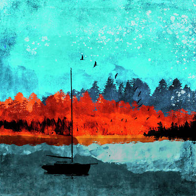 Mixed Media - Sailboat Daybreak Lake by Carol Leigh