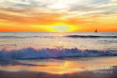 Sailboat Gliding  By Marine Street Beach, La Jolla, California Art Print by Julia Hiebaum