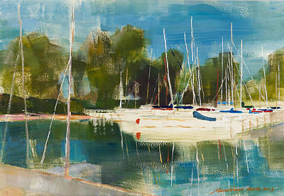 Painting - Sailboat Harbour by Attila Meszlenyi