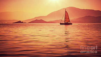 Photograph - Sailboat In Beautiful Sunset Light by Anna Om
