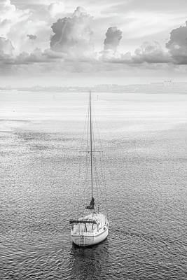 Photograph - Sailboat In Black And White by Debra and Dave Vanderlaan