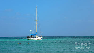 Photograph - Sailboat In Blue by Cheryl Baxter