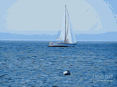 Photograph - Sailboat In Blue by Ed Weidman
