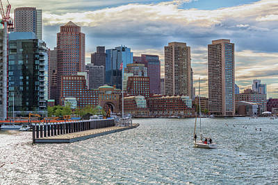 Photograph - Sailboat In Front Of The Boston Financial District by Brian MacLean